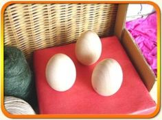 Egg (Solid) 5.1cm x 3 - Solid wood egg shapes x 3
