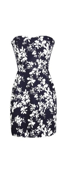 Silhouette Blooms Strapless Dress in Navy/Ivory...website has lots of cute stuff
