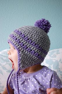 Free pattern: Earflap hat for 9-12 month old. (links on this page to sizes for: toddler size here , 6-month, 3-month, newborn and preemie.