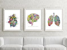 Lung Brain Heart PRINTABLE Watercolor Medical Art Printable Doctor Gift,Heart Print,Brain Art,Medical Wall Art Medical,Brian Art-Anatomy Art