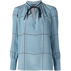 Derek Lam Tied Neck Blouse ($990) ❤ liked on Polyvore featuring tops, blouses, blue, blue top, neck ties, blue neck tie, derek lam top and derek lam