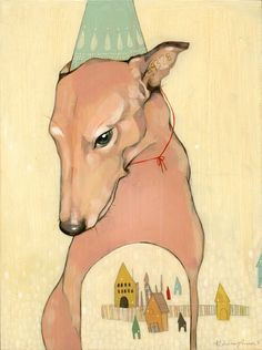 Illustration of Dog and Town, Rebecca Green
