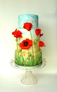 Poppy Field Wedding Cake - One year ago I made grass decorated cake (Sky is the limit - in my pictures) and planned to do a series of similar wedding cakes from then, inspired by different types of flowers like lavender, peony, poppy, then sea-side, one of the famous castles in Bretagne and many more. Unfortunately did not have time till now. It was also inspired by a gorgeous Blue Poppy cake by Fondant Flinger which is one of my most favorite cakes ever and by a sad story of Elcee that I…