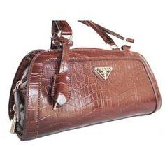 I Love My Bag :: Carteras    Cartera Croco Marrón Logo de Prada