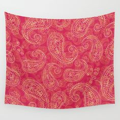 Crazy Paisley Wall Tapestry. #graphic-design #vector #pattern #vintage #paisley #retro #red #pink #digital