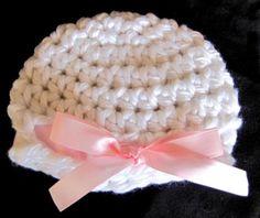 Newborn Baby Girl Hat Winter White Pink Ribbon Handmade Crochet Photo Prop | eBay