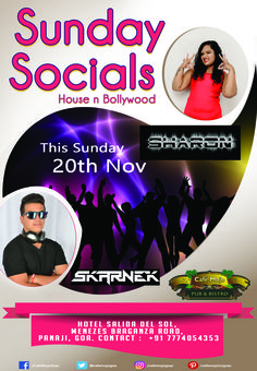 Café Mojo Goa brings to you a fancy night out with artist Sharon & Skarnek spinning some House and Bollywood hits at the Sunday Socials. #CafeMojo #Pubs #Party #Music #Beer #EatLocal   #Beers #Enjoy #BeerDrinks  #Parties #PartyMusic #GoodTimes  #Dance #Pub #Fun #DrinkLocal #OntheBar  #Drinks #Goa  #OnthePub  #Clubbing #Club #Lounge #Bar