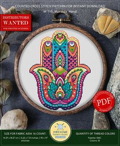 This is modern cross-stitch pattern of Mandala Hand for instant download. You will get 7-pages PDF file, which includes: - main picture for your reference; - colorful scheme for cross-stitch; - list of DMC thread colors (instruction and key section); - list of calculated thread
