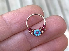 Your place to buy and sell all things handmade Gypsy Turquoise Rose Gold Daith Earring Rook Piercing Hoop Tragus, Rook Piercing Hoop, Septum, Ear Piercings Cartilage, Double Cartilage, Tongue Piercings, Dermal Piercing, Turquoise Flowers, Color