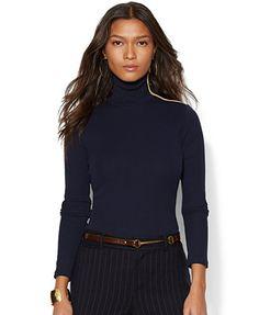 Lauren Ralph Lauren Zipper-Trim Turtleneck Sweater