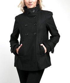 Take a look at this Black Mandarin Collar Peacoat on zulily today!
