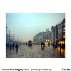 Liverpool from Wapping vintage painting Postcard