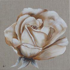 """NON DISPONIBLE - Peinture """"la rose"""" sur toile de lin Plus"""