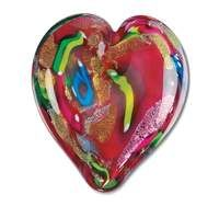 Hand Blown Hearts of Fire Red Glass Paperweight