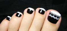 Cute French Tip Toe Nails - I woldn't put the lace effect
