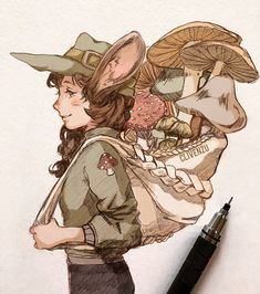 The mushroom collector 🍄(Revamp!) 🌿Comment a name for this character! BG: A big job for a small rodent. She's been given the duty of… Fantasy Character Design, Character Drawing, Character Design Inspiration, Pretty Art, Cute Art, Arte Indie, Witch Art, Cartoon Art Styles, Dnd Characters