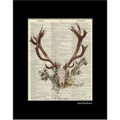 Deer Head Antlers  Dictionary Art Print  Vintage by BarnFeathers, $9.75