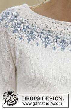 Nordic Summer / DROPS 161-33 - Stickad DROPS tröja i Baby Merino med raglan och runt ok. Stl S - XXXL.