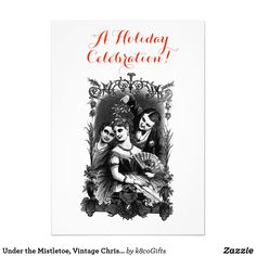 Holiday tea party invitation pinterest under the mistletoe vintage christmas invitation stopboris Images