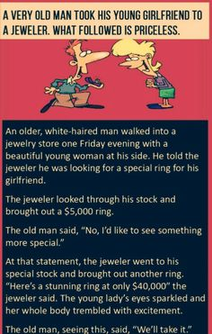 An older man goes to a jewellery store - Laughers Club - Funny jokes and Story Best Funny Jokes, Good Jokes, Funny Quotes, Funny Humour, Older Men Quotes, Very Old Man, Sewing Humor, Joke Stories, Older Man