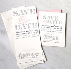 Pink Save the Date Wedding Save the Dates Gray Ivory by BeaconLane, $100.00