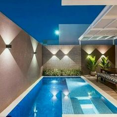 33 Gorgeous Small Pool Design Ideas You Must See - When deciding to buy an in ground swimming pool, there are many things to consider regarding the pools design. First, think about how big the pool sh. Small Backyard Pools, Backyard Pool Designs, Swimming Pools Backyard, Swimming Pool Designs, Pool Landscaping, Landscaping Design, Kleiner Pool Design, Swimming Pool Lights, Small Pool Design