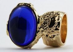 Arty Oval Ring Sapphire Blue Vintage Glass Gold Chunky Armor Knuckle Art Statement Deco Size 8.5 #ecrater #shopping #jewelry