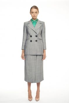Perfect For Business & Play Grey Fitted Blazer FLOW COLLECTION & Herringbone Midi Skirt FLOW COLLECTION