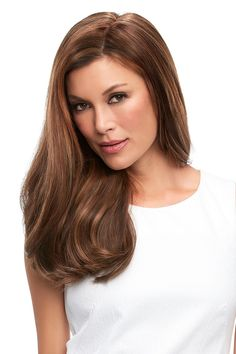 Top Full - Designed with the comfort of a hand tied stretch base, this long Remy human hair volumizer is worn over the entire crown, providing the most coverage of any clip in topper. Human Hair Color, Remy Human Hair, Human Hair Wigs, Best Wig Outlet, Wilshire Wigs, Curly Hair Styles, Natural Hair Styles, Honey Brown Hair, Jon Renau