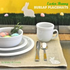 Easter Bunny Burlap Placemats - Make Life Lovely
