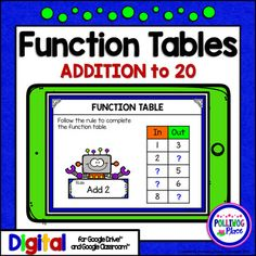 Function Tables - Addition to 20 for Google Drive and Goog