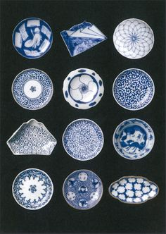 Small Japanese plates, mame-sara 豆皿 blue and white, small dishes