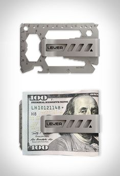 Lever Gear Tool Card Pro EDC Everyday Carry Gear Multi Tool Money Clip, Silver