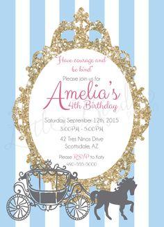 Princess Cinderella Birthday Invitation by LittleBirdiePrintCo
