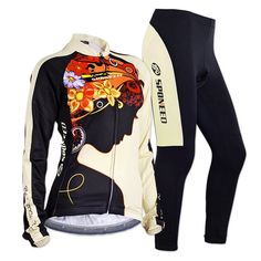 badf3aeda Sponeed Women s Cycle Jersey Bike Clothing Gel Padded Fresh Long Sleeve  Size L US Multi. Kindly Note Jersey tag size is Asian size
