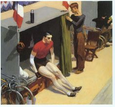 French Six Day Bicycle Racer - Edward Hopper - Oil Painting Reproductions and Prints from Canvas Replicas American Realism, American Artists, Edouard Hopper, Edward Hopper Paintings, Ashcan School, Robert Rauschenberg, David Hockney, Bicycle Art, Dibujo
