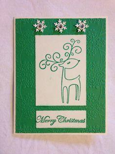 Handmade card, Christmas, green, deer, merry Christmas, snowflake punch