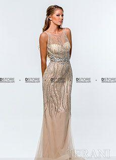 Vestido de festa longo couture em tulle Terani 151GL0337A