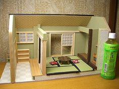 Miniture Dollhouse, Dollhouse Kits, Miniature Houses, Miniature Dolls, Dollhouse Miniatures, Doll House Crafts, Home Crafts, Japan Room, Japanese Tea House