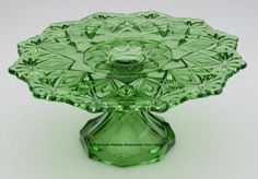 EAPG 1896 SHOSHONE / VICTOR CAKE STAND, green. U. S. Glass Co.