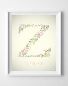 Letter Z Name Zoe Art Baby Shower Custom Baby by InkistPrints, $11.95