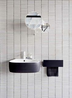 Simple, Monochromatic, Graphic Bathroom Tile