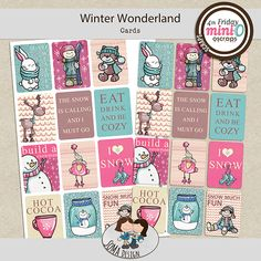 There are 12 journaling cards in .png format and an size printable sheet with all of the cards Winter Cards, Journal Cards, Winter Wonderland, Digital Scrapbooking, A4 Size, Png Format, Mini, Journaling, Printable