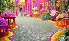 Brighten Up Your Indian Wedding In This Rainy Season With Fabulous Colorful Monsoon Wedding Ideas.Find The Inspiration at IndianWeddingCards! Diy Mehndi Decorations, Indian Wedding Decorations, Wedding Themes, Flower Decorations, Wedding Designs, Indian Weddings, Wedding Ideas, Wedding Events, Wedding Bells