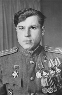 Hero of the Soviet Union, fighter pilot, the Major Fyodor Archipenko (1921 - 2012).
