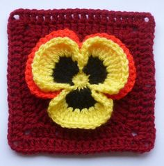 (4) Name: 'Crocheting : Pansy in square