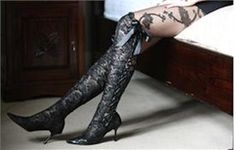 Black Lace Boots - Over the Knee by House of Elliot