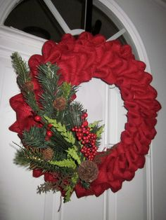 Red burlap Christmas wreath made by one of my friends from growing up!