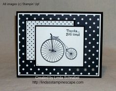 """THANKS ... Big Time!  Created with Stampin' Up! """"Timeless Talk"""" stamp set, Modern Medley Designer Series Paper, and a few pearls!  Easy hand stamped cards :)  http://lindasstampinescape.com"""