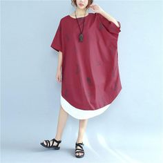 Printing Women Loose Casual Cotton Splicing Summer Red Dress